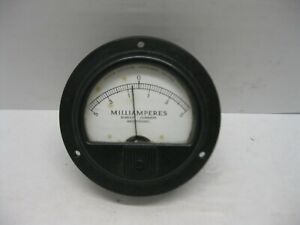 Vintage Marion Electrical Gauge Mr35w104 Spec Milliamperes Direct Current Meter