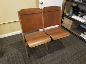 Antique Vintage Wood Double Folding Theater Stadium Theatre Seats Chairs