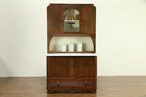 Art Deco Oak 1930 S Vintage Hoosier Kitchen Pantry Cupboard Sifter 30798