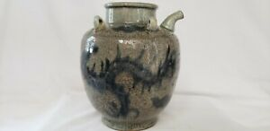 Ching Dynasty Chinese Blue And Gray Large Oil Water Jar Urn With Pouring Spout