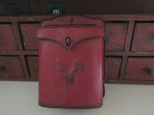 Primitive Wall Mount Metal Mail Box Reproduction Red With Rooster On Front