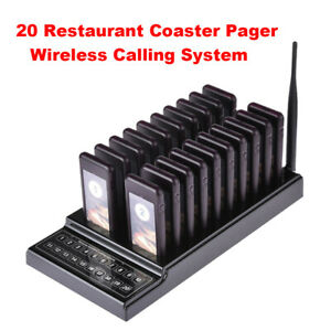 Restaurant Queuing Paging Equipment Chargeable 20ch 1 Transmitter 20 Receivers