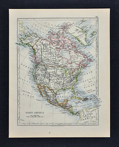 1895 Johnston Map North America Political Physical United States Canada