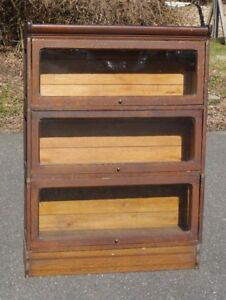 Antique Oak Lawyer Barrister Stacking Bookcase Raised Panel Sides Orig Finish