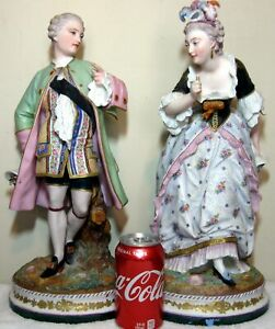 Antique 19th C French Paris Large 17 Porcelain Bisque Figurines Statues