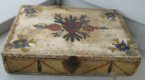 Antique Showstopping Wood Folk Art Painted Document Box Multi Paint Colors Sweet