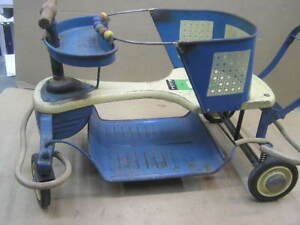 Vintage Firestone Wood Metal Baby Buggy Stroller Walker W Suspension 9 Z 3