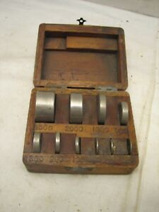 Antique Set Apothecary Balance Weights Gold Scale W Box Pharmacy Disc Bar Type