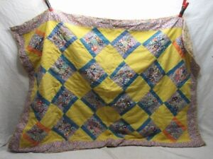 Early Baby Crib Quilt Blanket Calico Feed Sack Material Cover Bed Spread