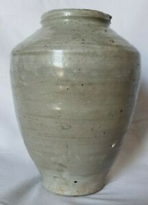 Ching Dynasty Chinese Gray 5 7 8 In Pottery Jar