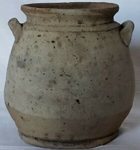 Tang Dynasty Chinese Clay Pottery 3 5 In High Jar With Handles