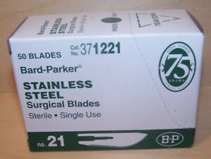Bard parker 21 Surgical Blades Stainless Steel 50 bx Sterile 371221