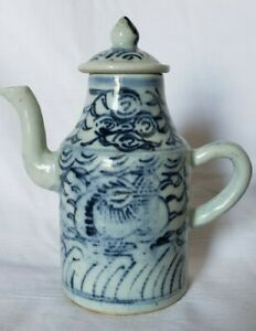 Ching Dynasty Chinese Blue And White Porcelain Oil Jar With Spout And Lid