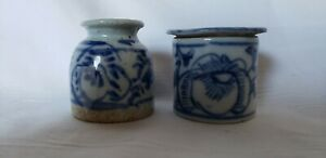 Ching Dynasty Chinese Blue And White Porcelain Small Jars Set Of 2