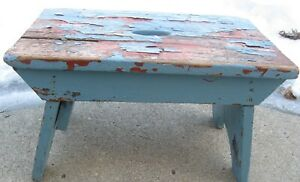 Antique Vintage Wooden Cricket Bench In Old Chippy Blue Paint Over Red