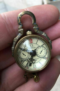 Chinese Old Brass Glass Pocket Watch Ball Clock Free Deliv
