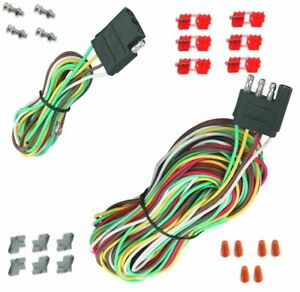 25 4 Way Trailer Wiring Connection Kit Flat Wire Extension Harness Boat Car Rv