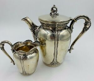 Antique 2 Piece German 800 Silver Hot Water Pot And Creamer Set