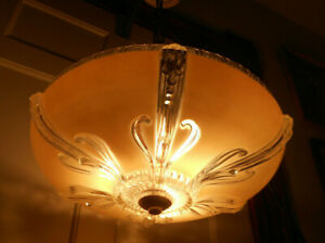 Vintage Art Deco Ceiling Light Fixture Chandelier Large 14 Shade All Original
