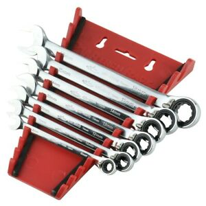 7 Piece Reversiblw Ratcheting Metric Combination Wrench Set 8 18mm Kti45602 New