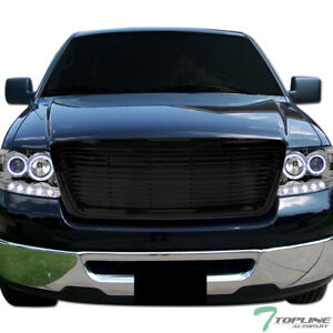 Topline For 2004 2008 Ford F150 Horizontal Front Hood Bumper Grill Grille Blk