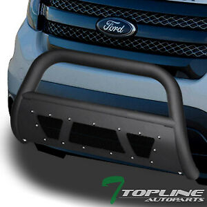 Topline For 2011 2018 Ford Explorer Studded Mesh Bull Bar Guard Matte Black