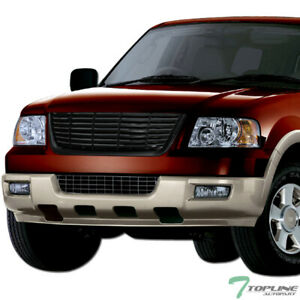 Topline For 2003 2006 Ford Expedition Horizontal Front Hood Bumper Grille Blk