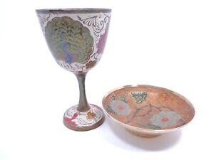 Vintage Hand Painted Brass Finger Tip Bowl And Ceremonial Goblet Made In India