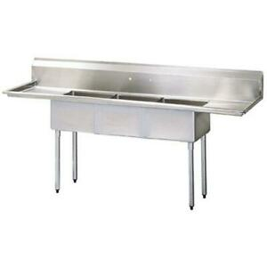 Turbo Air Tsa 3 14 d2 102 In Three Compartment Sink W 24 In Drainboards