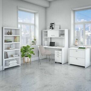 Office By Kathy Ireland Echo Desk With Hutch Bookcase And File Cabinets In