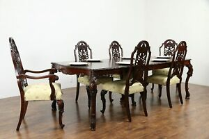 Carved Vintage Dining Set Table 6 Chairs New Upholstery Romweber 30821