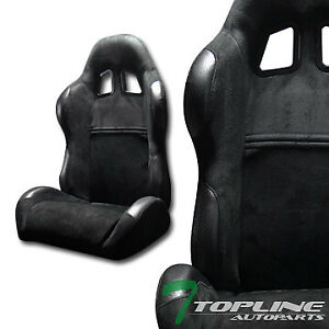 Sp Sport Style Blk Suede Leather Reclinable Racing Bucket Seats Sliders L R T01