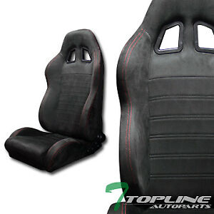 2x Sp Sport Style Blk Suede Red Stitch Reclinable Racing Bucket Seats Slider T01