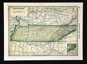 1911 Hammond Map Tennessee Nashville Memphis Knoxville Chattanooga Jackson Tn