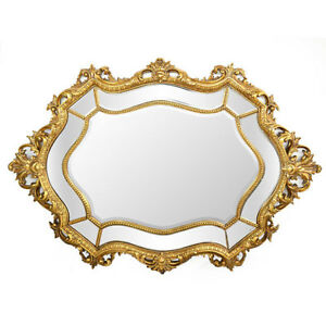 Vintage Style Queen Baroque Rococo Oval Wall Beveled Mirror Large 40 X 57 H