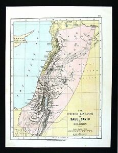 1877 Johnston Map Kingdom David Solomon Jewish Captivities Mesopotamia Babylon