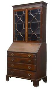 19th Century Early Victorian Mahogany Bureau Bookcase