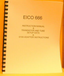 Eico 666 Instruction Manual tube Setup Data schematic 610a Adapter Instruc