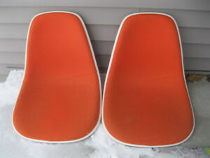 Mid Century Herman Miller Eames Orange Bucket Chairs Upholstered Pair Nice Shape