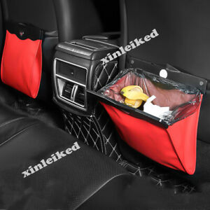 Red Leather Foldable Led Car Litter Trash Bag Garbage Can For Audi A3 203 2019