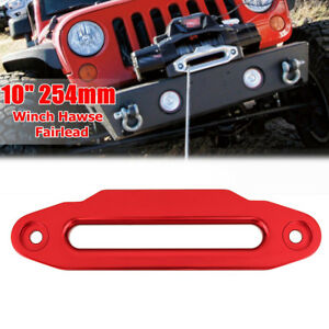 10 16800lbs Red Aluminium Hawse Fairlead For Winch Synthetic Cable Rope Guide