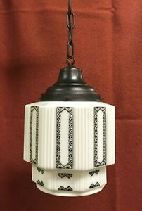 Antique Deco Pendant Ceiling Light Shade Stencil Milk Glass Skyscraper Globe