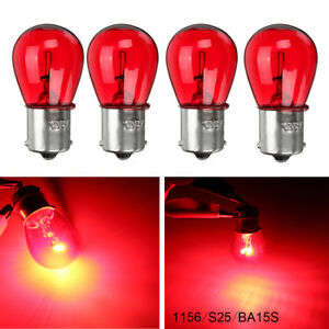 4x 1156 Red 12v 21w Ba15s Light Bulb Auto Car Brake Stop Signal Turn Tail Lamp