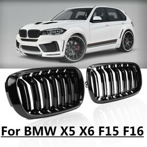 For 2014 2018 Bmw X5 X6 Series F15 F16 Gloss Black Dual Slats Kidney Front Grill