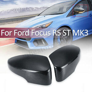 2pcs Carbon Fiber Rear View Mirror Cover For Ford Focus Rs St Mk3 2012 2018
