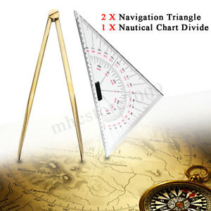 2x Navigation Triangular Protractor Nautical Chart Divider Measurement Tools