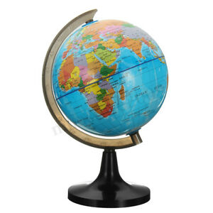 14cm Rotating Stand Vintage World Earth Globe Map School Geography Education