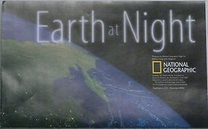 2004 National Geographic Map Poster Of The Earth At Night