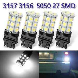 4pcs Pure White 3157 60smd Drl 3157a 4114 4157na Backup Reverse Led Light Bulbs