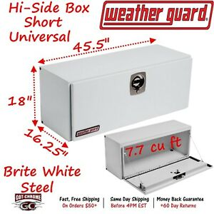 247 3 02 Weather Guard White Steel Super Side Top Mount 45 Truck Toolbox